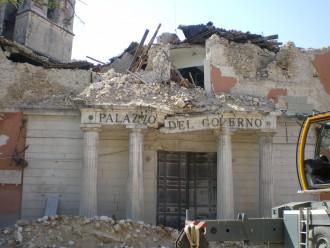 The prefettura di L'Aquila after the earthquake
